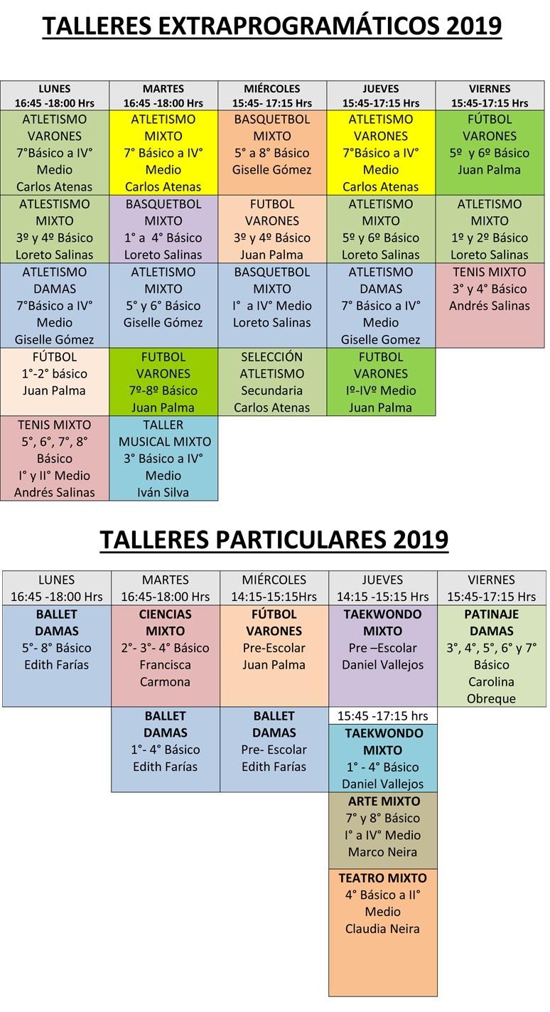 Talleres Extraprogramáticos 2019